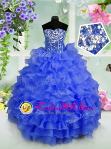 Royal Blue Organza Lace Up Straps Sleeveless Floor Length Little Girls Pageant Gowns Beading and Ruffles