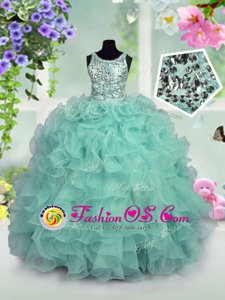 Scoop Sequins Turquoise Sleeveless Organza Zipper Kids Pageant Dress for Party and Wedding Party