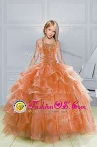 Halter Top Sleeveless Kids Pageant Dress Floor Length Beading and Ruffles Orange Organza
