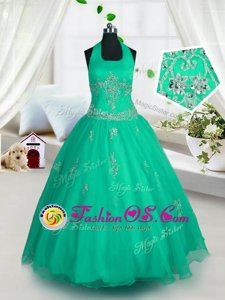 Cute Floor Length Lace Up Girls Pageant Dresses Teal and In for Party and Wedding Party with Beading and Ruffled Layers