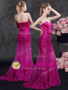 High Class Fuchsia Mermaid Satin and Tulle Sweetheart Sleeveless Lace and Appliques Floor Length Zipper Mother Of The Bride Dress Sweep Train