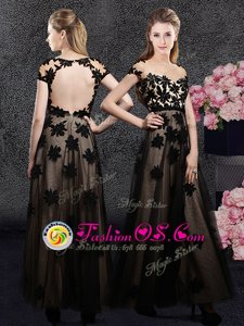 Black Tulle Backless Sweetheart Short Sleeves Ankle Length Mother Of The Bride Dress Appliques