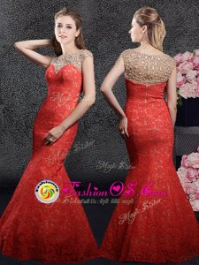 Mermaid Red Cap Sleeves Floor Length Beading and Lace Zipper Celebrity Evening Dresses