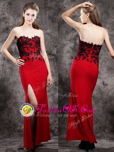 Edgy Beading and Appliques Homecoming Dress Red Zipper Sleeveless Ankle Length