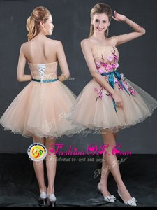 Peach Sleeveless Organza Lace Up Dress for Prom for Prom and Party