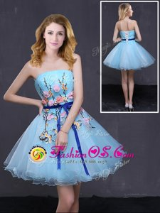 Suitable Baby Blue Organza Lace Up Prom Party Dress Sleeveless Mini Length Appliques and Belt