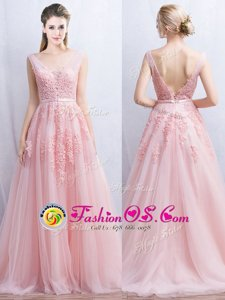 Customized Appliques and Belt Dress for Prom Baby Pink Backless Sleeveless With Brush Train