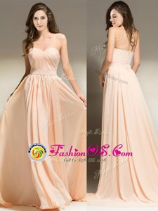 Dynamic Sleeveless Brush Train Belt Clasp Handle Prom Evening Gown