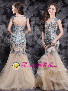 Mermaid Champagne Sleeveless With Train Appliques and Ruffles Zipper Prom Party Dress