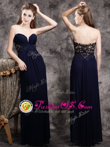 Stunning Floor Length Navy Blue Sweetheart Sleeveless Zipper