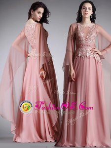 Smart Empire Mother Of The Bride Dress Pink Scoop Chiffon 3|4 Length Sleeve Floor Length Zipper