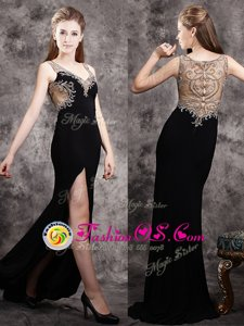 Black V-neck Neckline Appliques Prom Dress Sleeveless Zipper