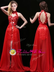 Free and Easy Halter Top Coral Red Sleeveless With Train Lace and Sashes|ribbons Backless Evening Gowns
