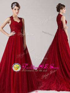 Amazing Wine Red Empire Straps Sleeveless Tulle Court Train Side Zipper Appliques Celebrity Dresses
