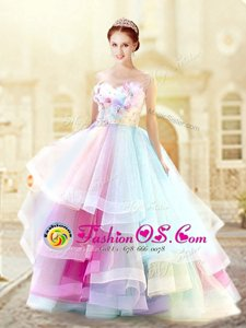 Multi-color Sleeveless Floor Length Ruffled Layers and Hand Made Flower Zipper Prom Evening Gown
