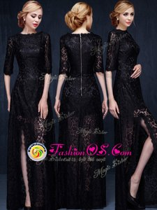 Affordable Scoop Black Zipper Mother Of The Bride Dress Lace Half Sleeves Floor Length