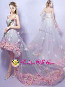 Best Selling Grey A-line Appliques Dress for Prom Lace Up Tulle Sleeveless High Low