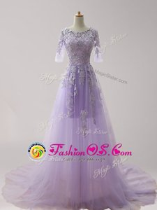 Shining Scoop Half Sleeves Tulle With Brush Train Zipper Celebrity Prom Dress in Lavender for with Appliques