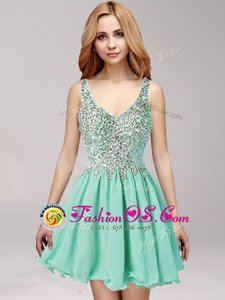 Apple Green Straps Side Zipper Beading and Ruffles Celebrity Style Dress Sleeveless