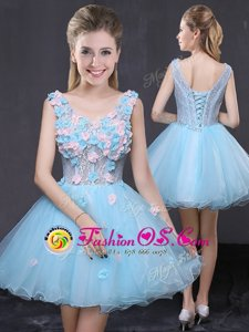 Baby Blue Lace Up V-neck Hand Made Flower Prom Dresses Organza Sleeveless