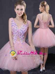 Adorable Pink V-neck Lace Up Hand Made Flower Prom Dress Sleeveless