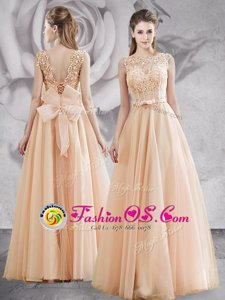 Champagne Bateau Neckline Appliques and Bowknot Mother Of The Bride Dress Sleeveless Lace Up