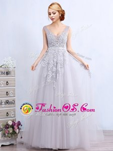 Cute Grey Sleeveless Tulle Brush Train Backless Prom Dress for Prom