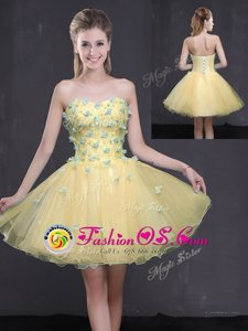 Traditional Light Yellow A-line Sweetheart Sleeveless Organza Mini Length Lace Up Appliques Dress for Prom
