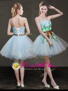 Cute Light Blue Sleeveless Organza Lace Up Prom Evening Gown for Prom and Party