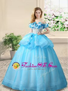 Off the Shoulder Baby Blue Organza Lace Up Quinceanera Gowns Sleeveless Floor Length Beading and Appliques