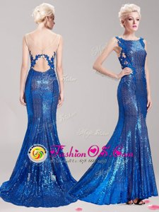 Blue Mermaid Sequined Square Sleeveless Appliques and Sequins With Train Clasp Handle Prom Evening Gown Brush Train