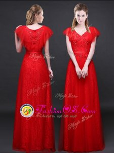 Super Lace Short Sleeves Appliques and Belt Zipper Red Carpet Prom Dress
