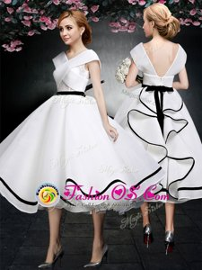 White Cap Sleeves Lace Tea Length Evening Dress