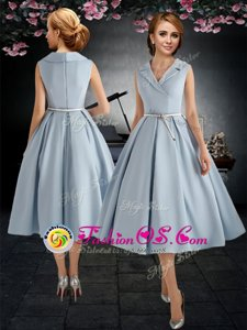 Light Blue A-line V-neck Sleeveless Taffeta Tea Length Zipper Belt Mother Of The Bride Dress