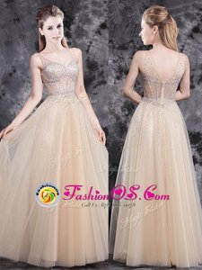 Attractive V-neck Sleeveless Tulle Prom Party Dress Beading Zipper
