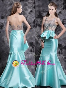 Mermaid Scoop Sleeveless Satin Red Carpet Gowns Appliques Brush Train Zipper