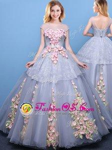 Inexpensive Scoop Cap Sleeves Lace Up Floor Length Appliques Sweet 16 Dress