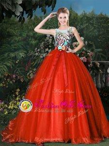 Scoop Ball Gowns Sleeveless Red 15 Quinceanera Dress Brush Train Zipper