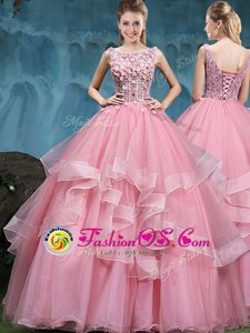 Flare Scoop Baby Pink Lace Up Quinceanera Gown Lace and Appliques and Ruffles Sleeveless Floor Length