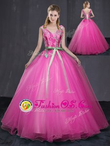 Noble Tulle Sleeveless Floor Length Quinceanera Dresses and Appliques and Belt