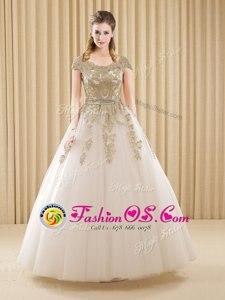 Hot Selling Scoop Short Sleeves Quinceanera Dresses Floor Length Beading and Appliques White Tulle