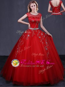 Red Ball Gowns Tulle Scoop Cap Sleeves Beading and Belt Floor Length Lace Up 15th Birthday Dress