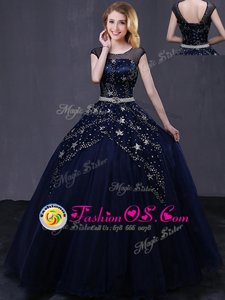 Captivating Scoop Cap Sleeves Vestidos de Quinceanera Floor Length Beading and Belt Navy Blue Tulle