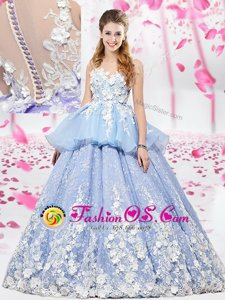 Lavender Ball Gowns Organza and Tulle Scoop Sleeveless Lace and Appliques Floor Length Lace Up Sweet 16 Dresses