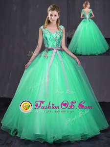 Shining Appliques and Belt Sweet 16 Dress Turquoise Lace Up Sleeveless Floor Length