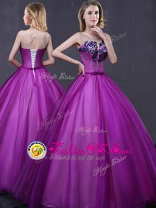 Dynamic Royal Blue Organza Lace Up Sweetheart Sleeveless Floor Length Vestidos de Quinceanera Appliques and Ruffles