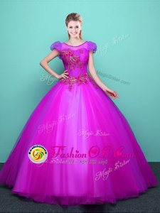 Customized Fuchsia Ball Gowns Scoop Short Sleeves Tulle Floor Length Lace Up Appliques 15 Quinceanera Dress