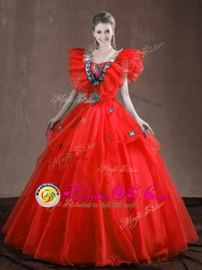 Fantastic Red Lace Up 15th Birthday Dress Appliques and Ruffles Sleeveless Floor Length