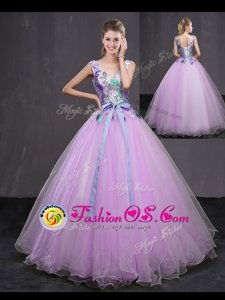 Beautiful Lilac V-neck Lace Up Appliques and Belt Quinceanera Gown Sleeveless