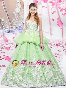 Scoop Sleeveless Quinceanera Dress Floor Length Lace and Appliques Yellow Green Organza and Tulle